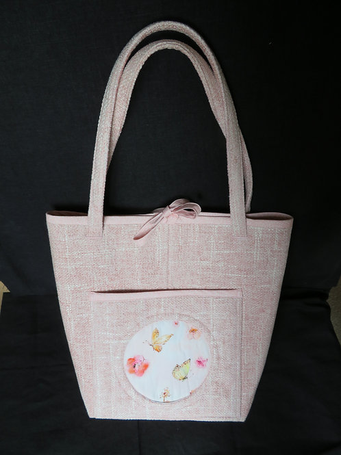 Love in Bloom Uptown Tote in Pink and White tweed