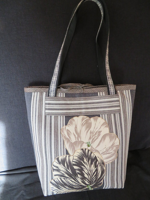 Tulip Tote/Purse with accessory bag in brown/black upholstery weight fabric