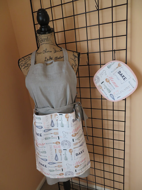 Adult Gray linen apron with baking towel panel and matching pot holder
