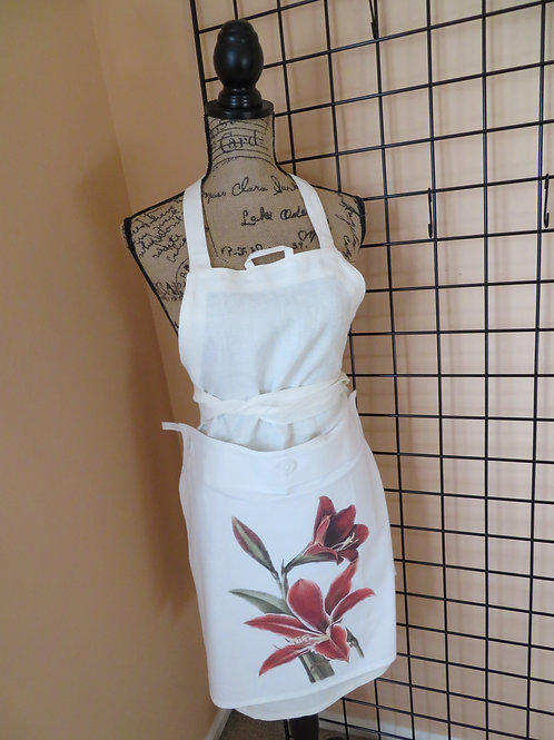 Adult White linen apron with floral towel panel