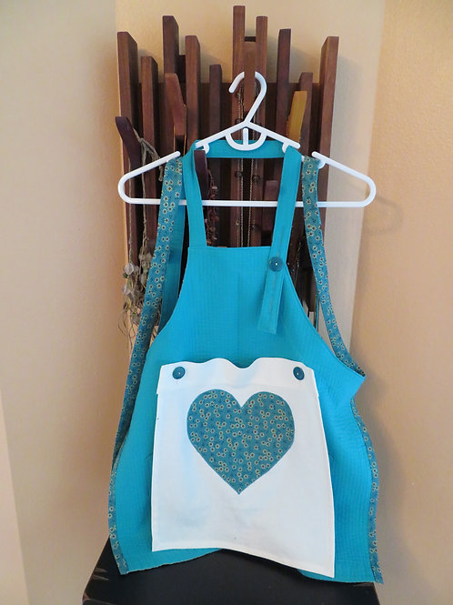 Child's small turquoise apron
