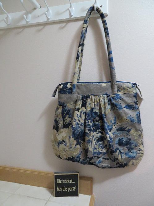 Shoulder bag with blue floral print