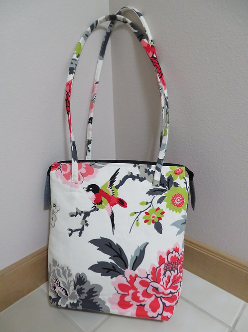 Pink Gray Red Floral with Red Bird