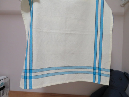 Blue striped border on white background