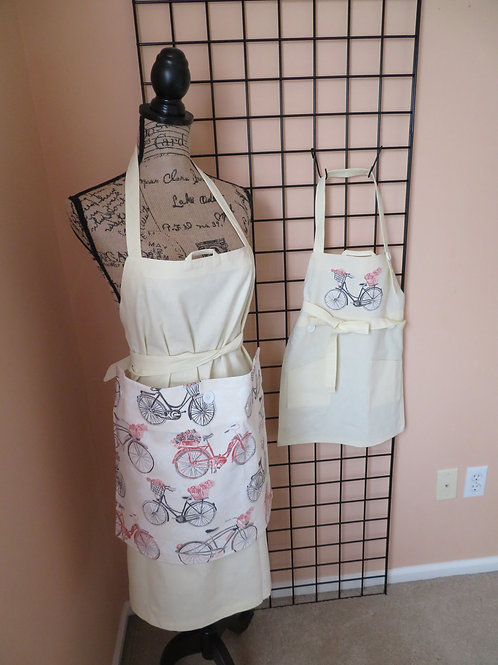 Adult and Child linen aprons with bicycles