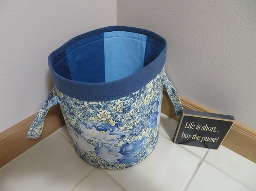 Blue and yellow floral pattern with blue stripe top and vertical blue inside