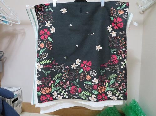 Floral print on black background