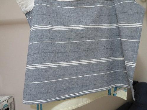 Horizontal white and gray stripes on gray background