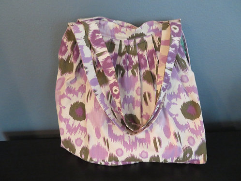 Lavender Abstract Blooms Shoulder Tote