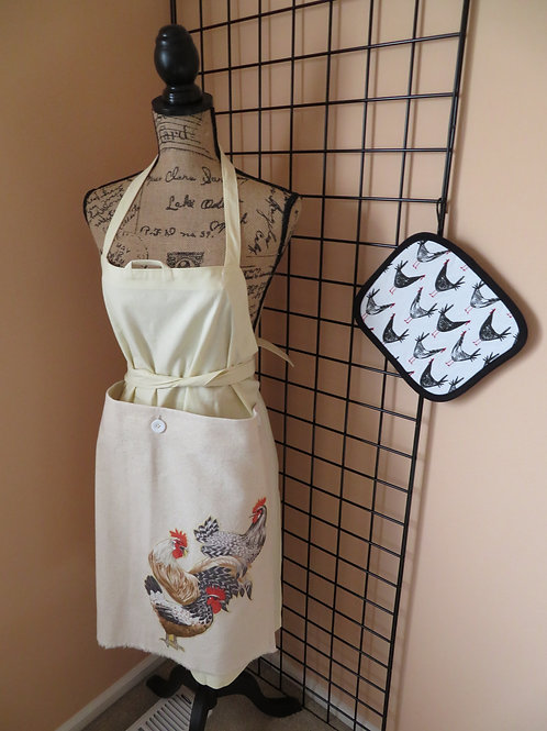 Yellow linen apron with 3 roosters and chicken pot holder
