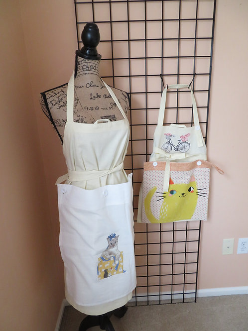 Adult and Child linen aprons with cat towel panels