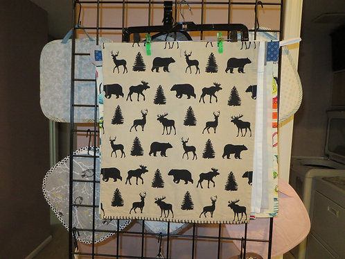 Woodland animals and trees tea towel
