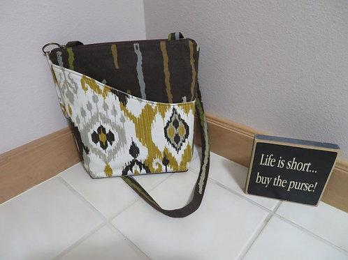 Brown stripes/Gold Ikat pocket
