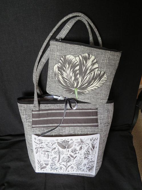 Botanical Greys on Grey and White tweed