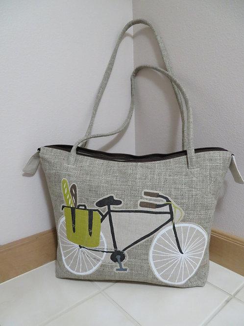 Briefcase with Bicycle shoulder bag- Beige