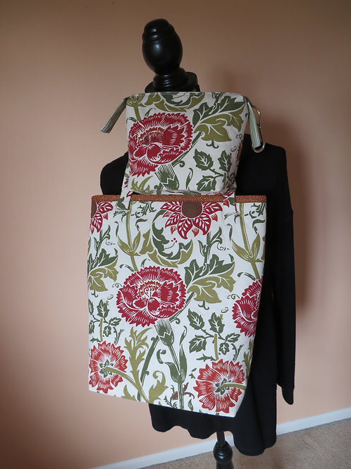 Red and Green Floral pattern Tote