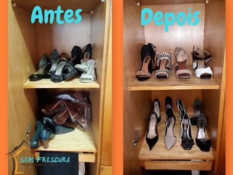 Organização Sapatos - Antes X Depois