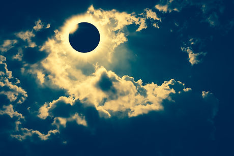 Amazing scientific natural phenomenon. Total solar eclipse with diamond ring effect glowing on sky w