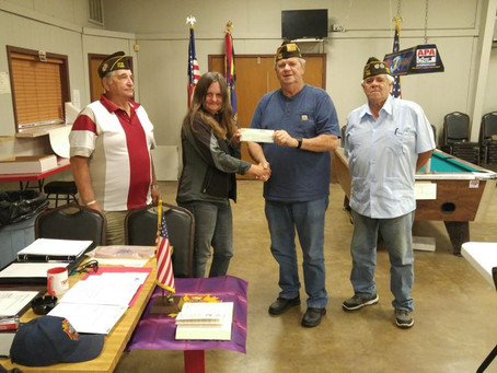 VFW Ennis, TX Gives Serenity Veterans Village a Donation