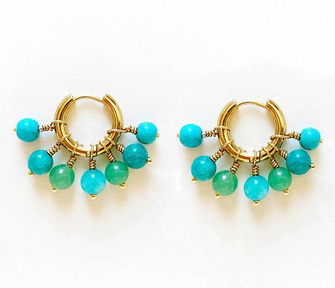 Boucles d'oreilles BLUE plaqué or