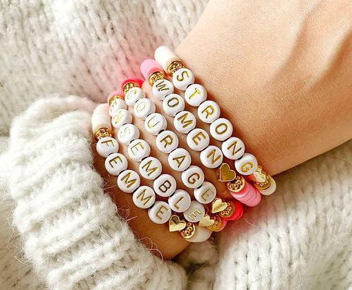 Bracelet OCTOBRE ROSE personnalisable plaqué or