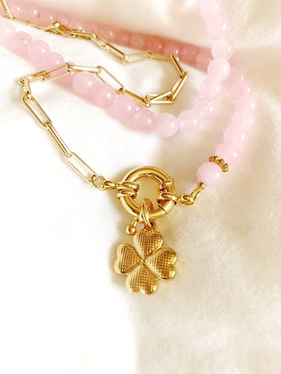 Collier DOUBLE Gemme LUCKY plaqué or