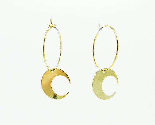 Boucles d'oreilles Talisman lune plaqué or