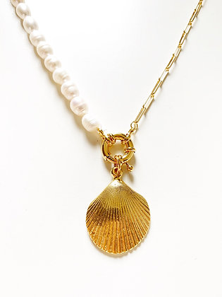 Collier DOUBLE Clam plaque or