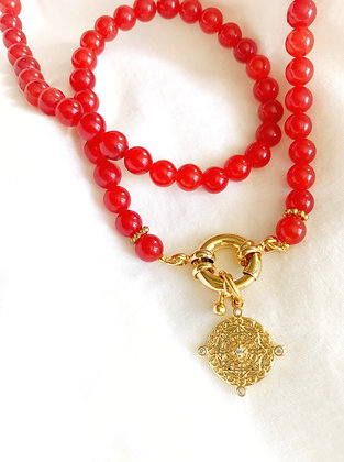 Collier Agate rouge GRIGRI plaqué or