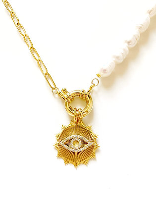 Collier DOUBLE Eye plaqué or