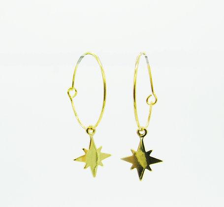 Boucles d'oreilles Talisman étoile plaqué or