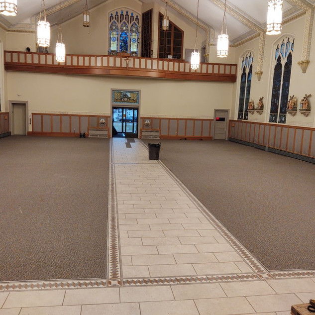 carpet in main body of church all installed