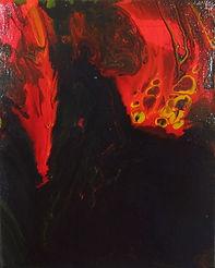 eruzione smalto all'acqua su tela 25x30.