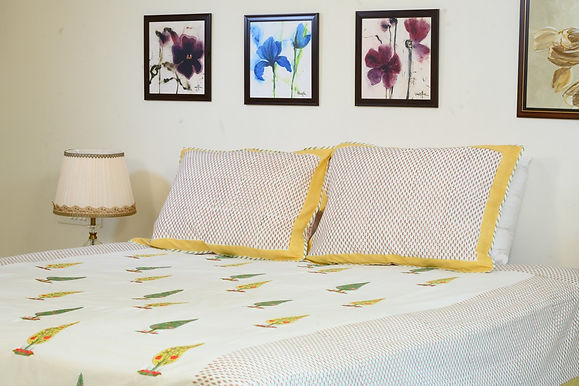 Yellow  Embroidered Bedsheet