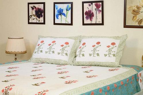 Pink Olive Embroidered Bedsheet