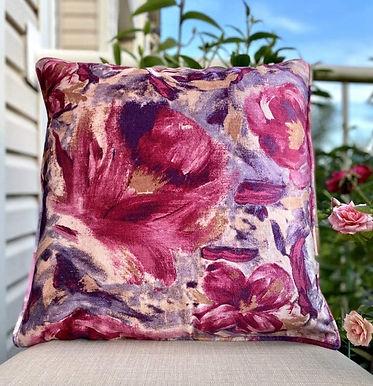 Velvet Decorative Pillow case(Purple Pink Floral)