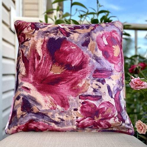 Velvet Decorative Pillow case(Purple Pink Floral)