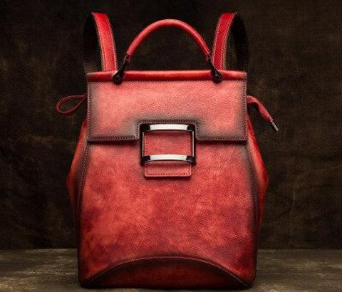 Brush Colour Genuine Leather Vintage Design Backpack