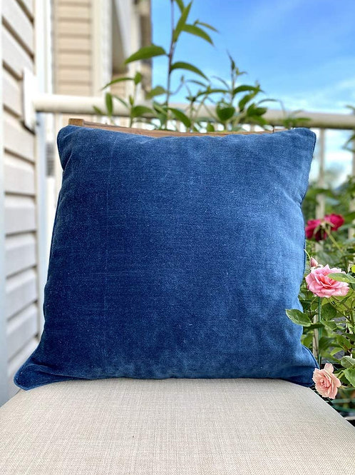 Amber & Sapphire Velvet Decorative Pillow case (Navy Blue)