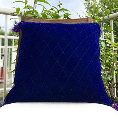 Velvet Quilted Throw Pillow case (Indigo)