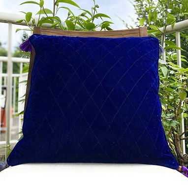 Velvet Quilted Throw Pillow case (Indigo)