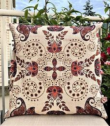 Amber & Sapphire Cotton Printed Decorative Pillow Case (Beige Blue Paisley)