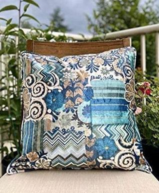 Velvet Decorative Pillow case(Bohemian Blue)