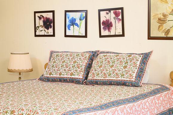 Peach Blue Printed Cotton Bedsheet