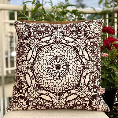 Amber & Sapphire Cotton Printed Decorative Pillow Case (Coffee Beige)