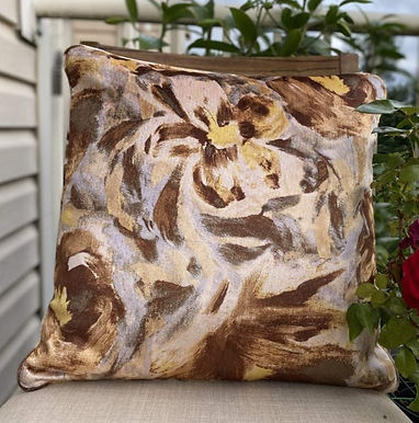 Velvet Decorative Pillow case (Yellow Brown Floral)