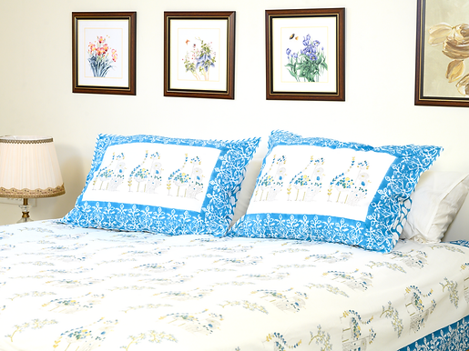 Blue Yellow Poppy Bedsheet