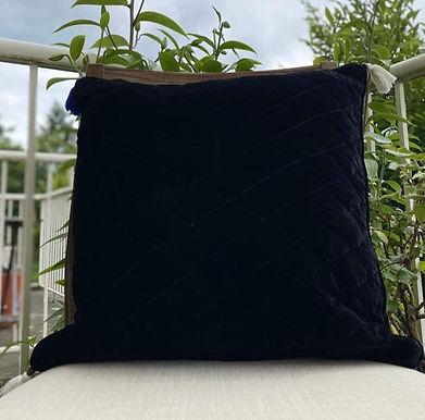 Velvet Quilted Throw Pillow case Black