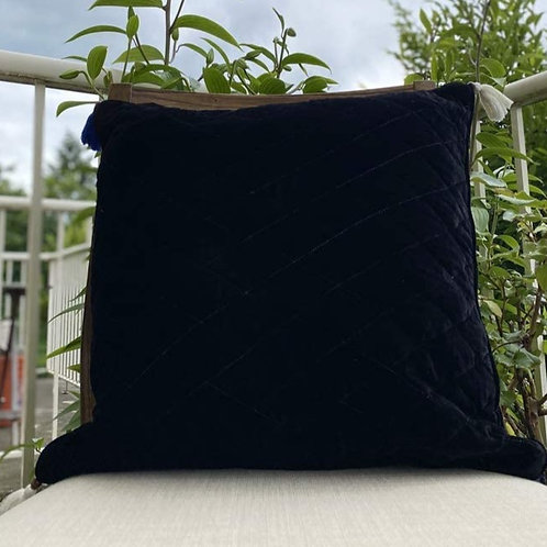 Velvet Quilted Throw Pillow case Black