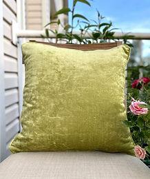 Amber & Sapphire Velvet Decorative Pillow case (Green)